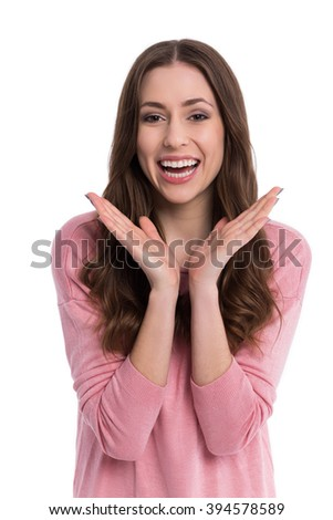Happy woman gesturing  - stock photo