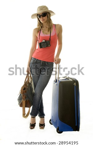 happy woman going on vacation with passport and her suitcase over a white background - stock photo