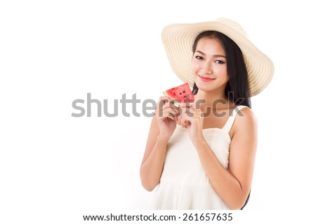 happy woman hand holding watermelon, summer time concept, looking and smiling to you - stock photo