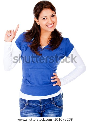 Happy woman having an idea - isolated over a white background - stock photo