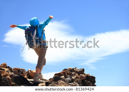 Happy woman hiker reaching her goal at the mountain top summit - stock photo
