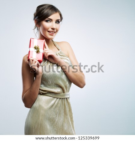 Happy woman hold gift box, isolated portrait. - stock photo
