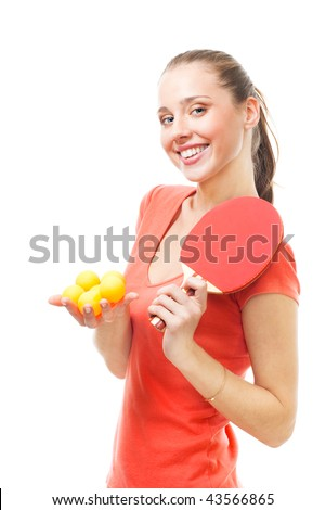 Happy woman hold ping-pong balls and racket with lovely smile, isolated