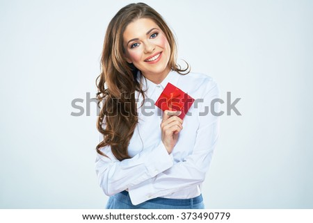 Happy woman hold red gift box. Business woman hold present. White background. - stock photo