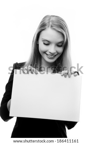 happy woman holding a blank piece card