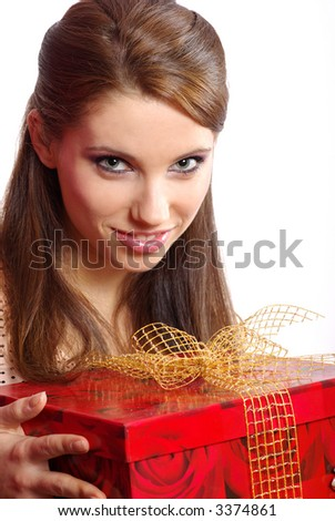 happy woman holding a gift box