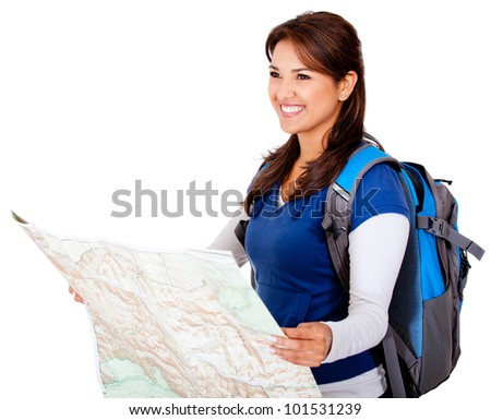 Happy woman holding a map - isolated over a white background - stock photo