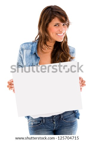 Happy woman holding an banner ad - isolated over a white background - stock photo
