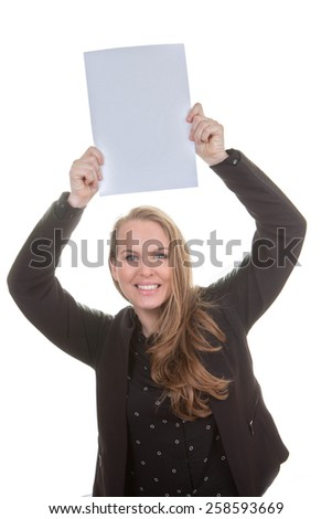 happy woman holding blank white paper - stock photo