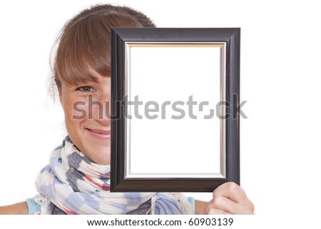 happy woman holding empty photo frame over white background - stock photo
