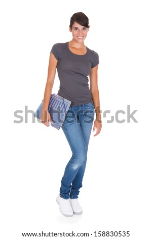 Happy Woman Holding Folder Over White Background