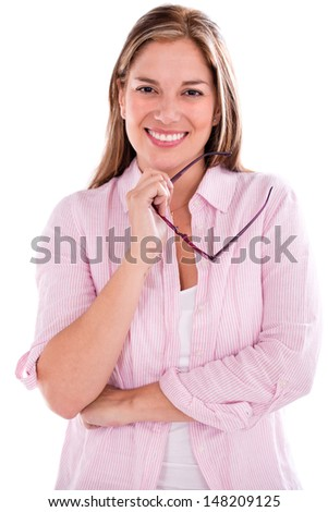 Happy woman holding glasses and smiling - isolated over white background  - stock photo