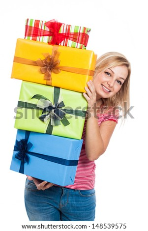 Happy woman holding presents, isolated on white background. - stock photo