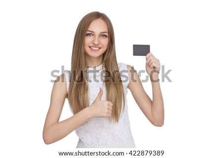 happy woman holding white blank paper