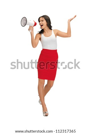 happy woman in blank white t-shirt with megaphone - stock photo