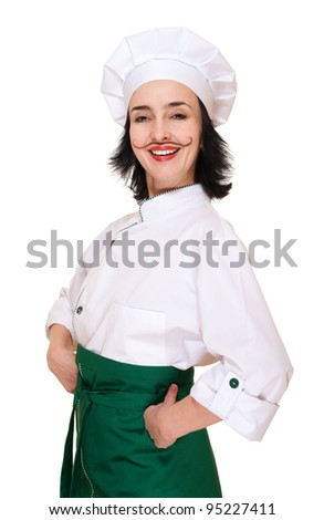 Happy woman in chef's costume with painted mustaches isolated on white - stock photo