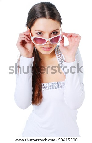 Happy woman in sunglasses - stock photo