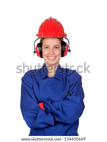 Happy woman industrial worker isolated on white background