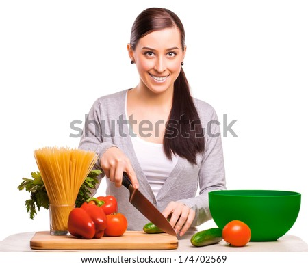 happy woman is cooking. isolated