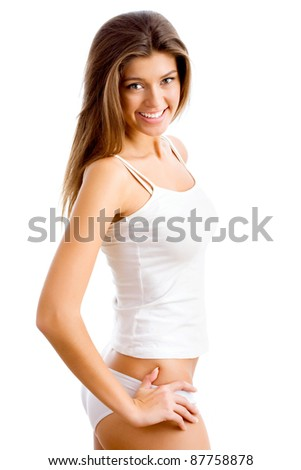 Happy woman isolated on white background - stock photo
