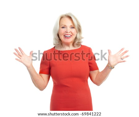 Happy woman. Isolated over white background - stock photo