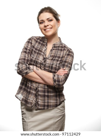 happy woman isolated portrait - stock photo