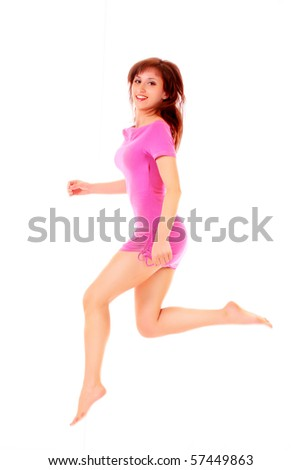 Happy woman jumping isolated on white