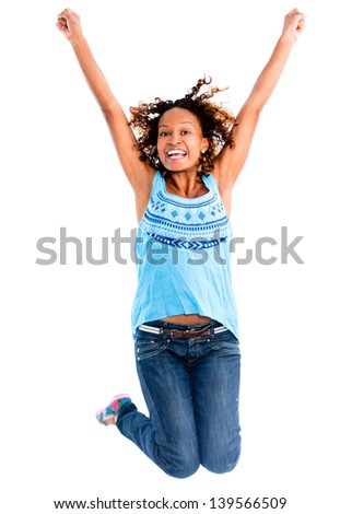 Happy woman jumping  with arms up - isolated over a white background - stock photo