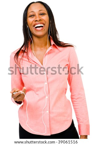 Happy woman listening to music on MP3 player isolated over white - stock photo