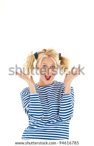 Happy woman making a funny face over white background