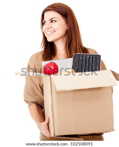 Happy woman moving house and packing - isolated over white - stock photo