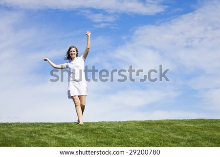 Happy Woman on a sunny day - stock photo