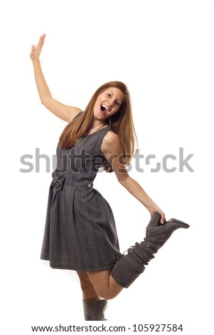 Happy woman on white background