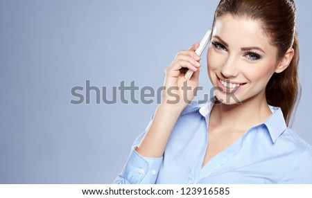 Happy woman phone talking. Face with toothy smile - stock photo