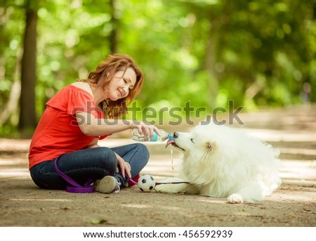 happy woman playing in the Park with a white fluffy dog breeds Samoyed - stock photo