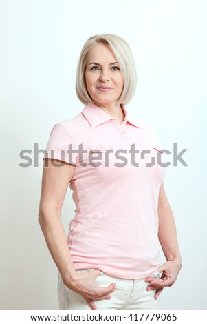 Happy woman portrait close up. Success. Isolated over white background. - stock photo