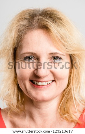 happy woman portrait real people high definition grey background