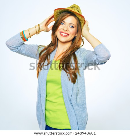 Happy woman portrait with hands raised up over his head. isolated white background.
