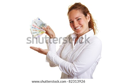 Happy woman presenting a fan of Euro money bills - stock photo