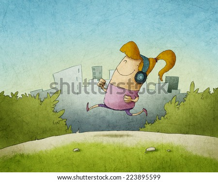 happy woman running in the morning with headphones - stock photo