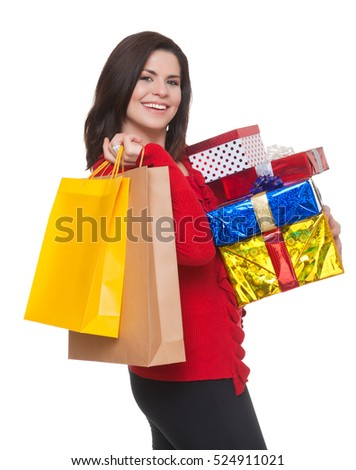 Happy woman shopping for  christmas, white background.