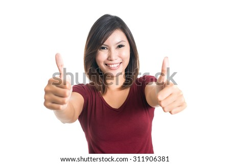 happy woman shows gesture OK, it's good. - stock photo