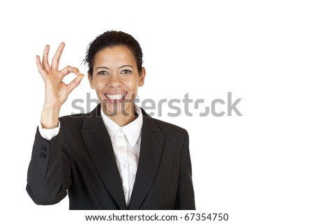 Happy woman shows with fingers a circle. Isolated on white background. - stock photo