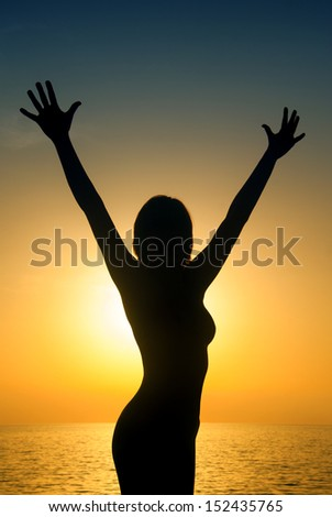 Happy woman silouette in the sunset on the beach - stock photo