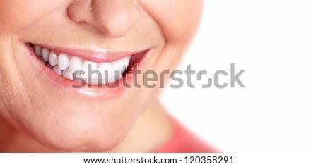 Happy woman smile. Dental care. White teeth. - stock photo