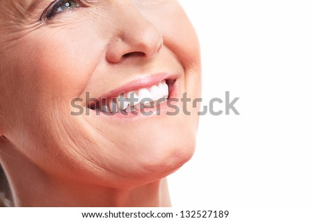 Happy woman smile. Dental care. White teeth. - stock photo