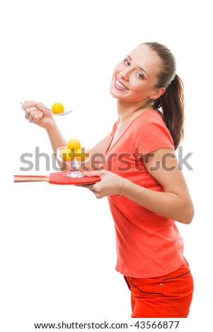 Happy woman smile, holding ping-pong racket and balls and tasting the sport
