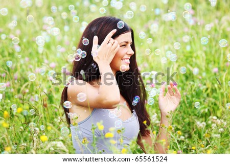 happy woman smile in green grass