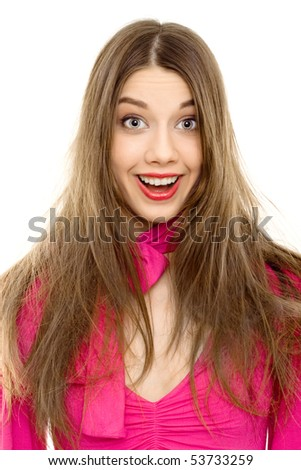 happy woman smile pink dress isolated - stock photo