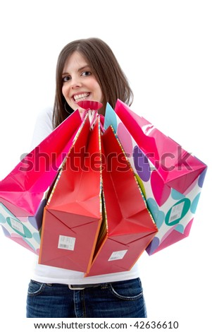 happy woman smiling with shopping bags - isolated over white - stock photo